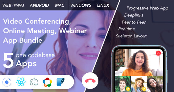 Teammeet - Video Conferencing, Online Meeting, Webinar App Bundle (Web, Android & Desktop)