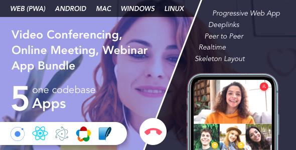 Teammeet - Video Conferencing, Online Meeting, Webinar App Bundle (Web, Android & Desktop)