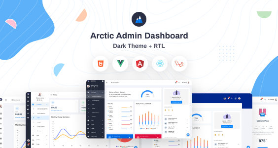 Arctic - HTML, VueJs, Angular, React & Laravel Admin Dashboard Template