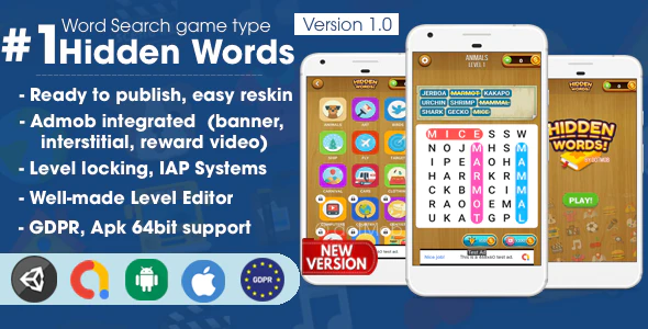 Unity Hidden Words - Word Search Game