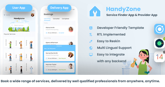 Home Service Finder  Provider  Booking Android + iOS App Template 2 Apps  HTML+CSS IONIC 5 Handyzone