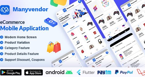 Manyvendor eCommerce Customer Mobile App - Flutter iOS & Android