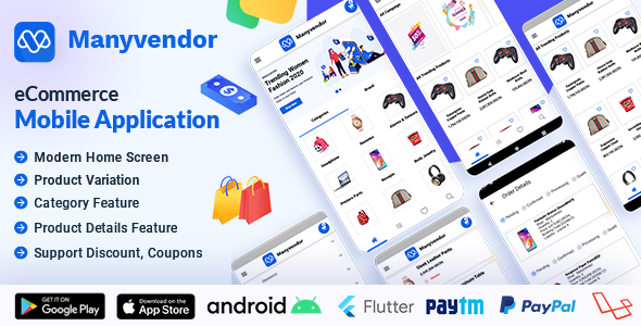 Manyvendor eCommerce Customer Mobile App - Flutter iOS & Android