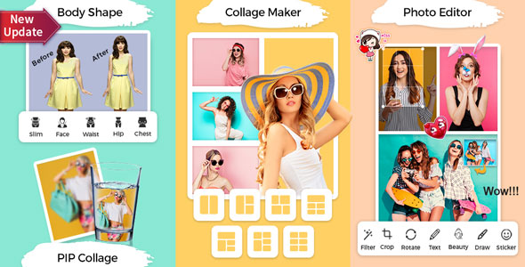 PIP & Photo Collage Maker With Photo Editor, ScrapBook & Body Shape Editor(FB & Admob Ads)