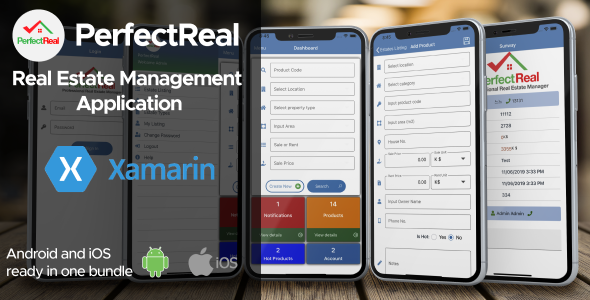 Real Estate Management Application Xamarin Android + iOS