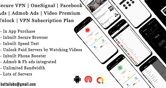 Secure VPN | OneSignal | Facebook Ads | Admob Ads | Video Premium Unlock | VPN Subscription Plan