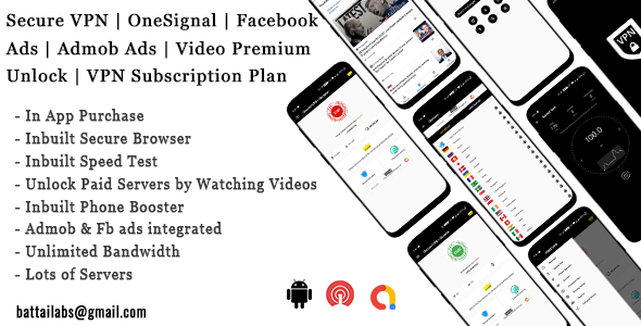 Secure VPN | OneSignal | Facebook Ads | Admob Ads | Video Premium Unlock | VPN Subscription Plan