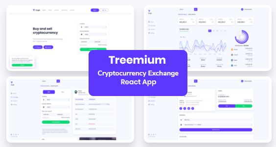 Treemium - Cryptocurrency Exchange Dashboard React App
