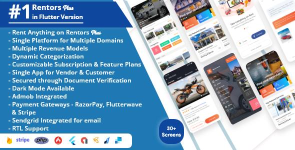 Rentors Plus- Universal Flutter App For Renting and Hiring