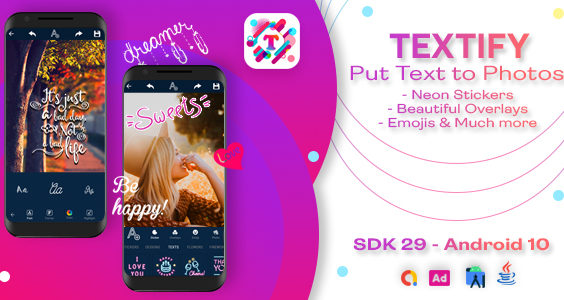 Textify - Text on Photo App with Admob/Facebook Ads