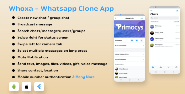WhatsApp Clone Flutter App Android and iOS