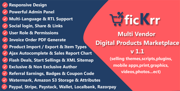 ficKrr - Multi Vendor Digital Products Marketplace