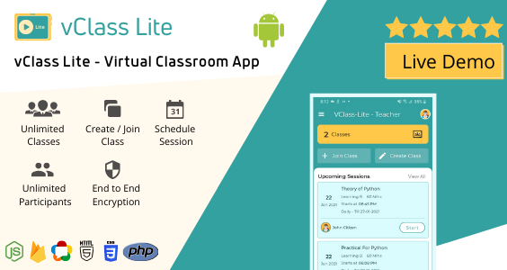 vClass Lite - Virtual Online Live Classroom Android App