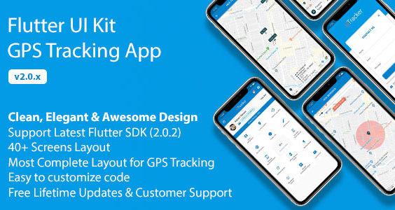 Flutter UI Kit - GPS Tracking App