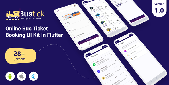 BusTick - Online Bus Ticket Booking App UI Kit in Flutter