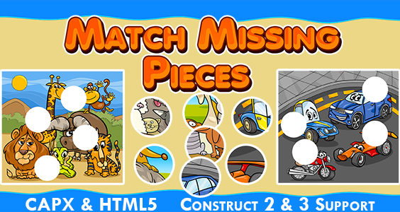 Match Missing Pieces Game (CAPX and HTML5) Kids Learning Game