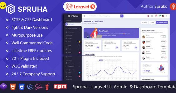 Spruha - Laravel Admin & Dashboard Template