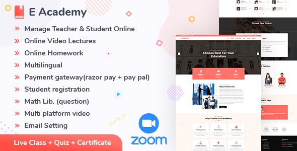 E- Academy - Online Learning Management System & live streaming classes (web)