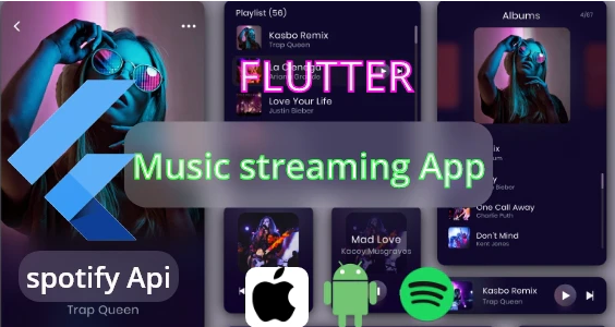 Flutter Music Streaming Player online ofline With Spotify Api