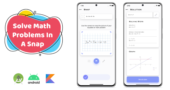 SnapMath - Android Photo Math Solving App   Multilingual