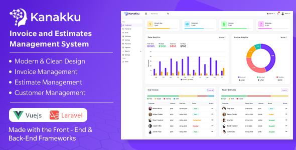 Kanakku - Invoice and Estimates Management System - (Frontend - Vuejs + Backend - Laravel)