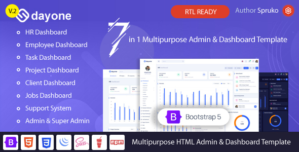 Dayone - Bootstrap 5 HRM, Employee & Project Admin Dashboard HTML Template