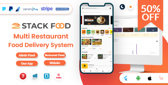 StackFood Multi Restaurant - Food Delivery App with Laravel Admin and Restaurant Panel v3.1