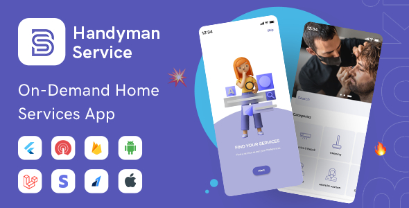 Handyman Service - Flutter On-Demand Home Services App with Complete Solution