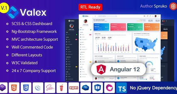 Valex – Angular Admin & Dashboard Template