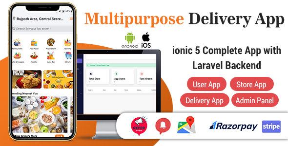Food Delivery App - ionic 5 Complete App with Laravel Backend (User, Store & Driver App)